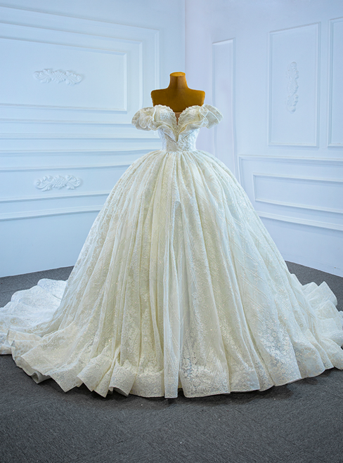 White Ball Gown Sequins Off the Shoulder Pearl Wedding Dress