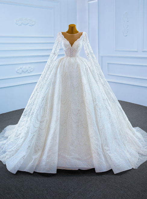 White Tulle Sequins Long Sleeve Pearls Wedding Dress