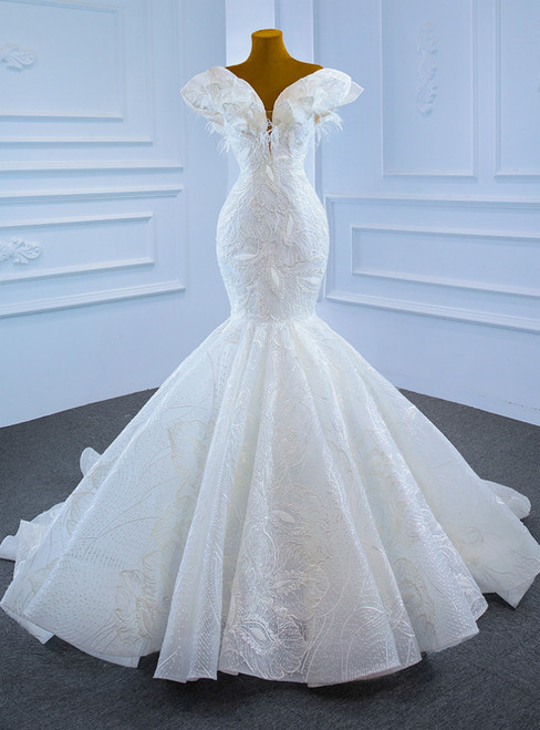White Mermaid Lace Off the Shoulder Wedding Dress