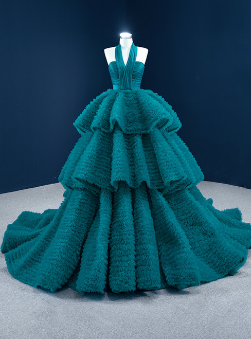 Peacock Blue Ball Gown Tulle Halter Tiers Prom Dress