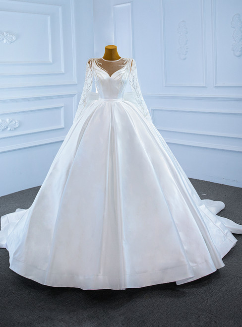 White Ball Gown Satin Long Sleeve Beaidng Wedding Dress With Bow