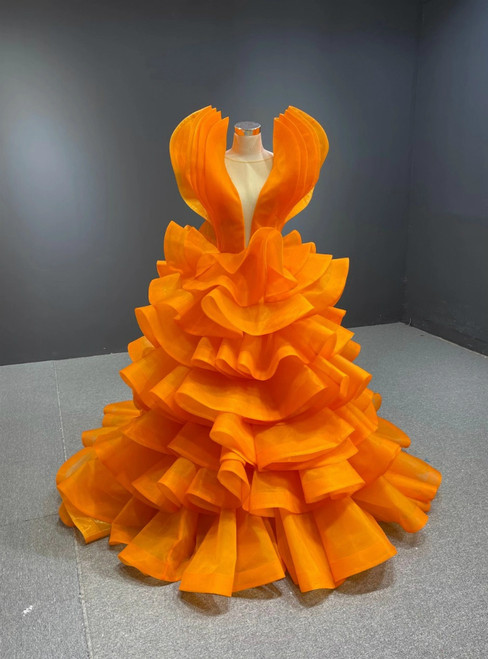 Orange Ball Gown Tulle Tiers See Through V-neck Prom Dress
