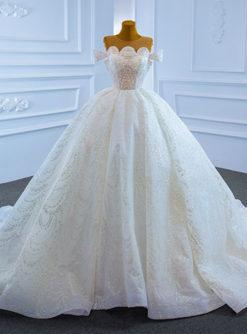 White Ball Gown Tulle Sequins Scoop Pearls Wedding Dress