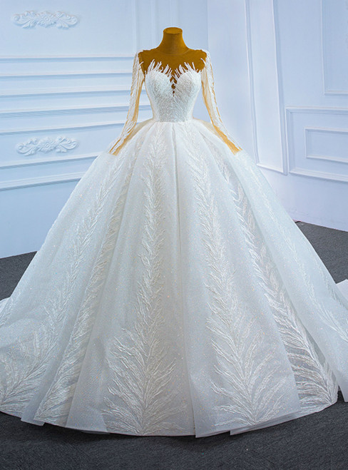 Luxury White Tulle Sequins Long Sleeve Wedding Dress