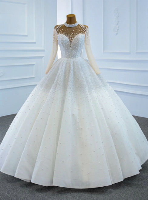 White Tulle High Neck Long Sleeve Pearls Wedding Dress