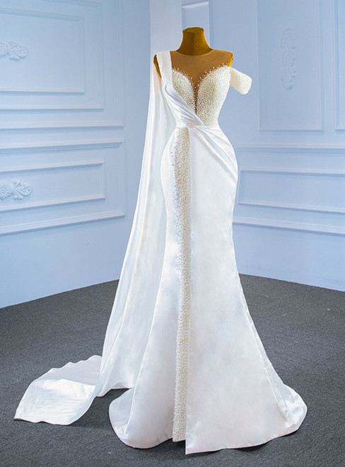 Sexy White Mermaid Satin Pearls Wedding Dress