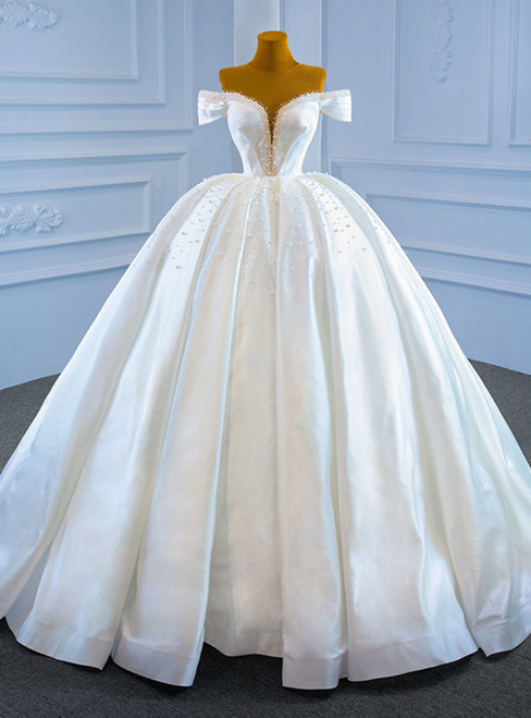 White Ball Gown Satin Pleats Pearls Wedding Dress