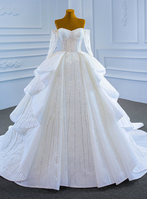 White Ball Gown Tulle Off the Shoulder Long Sleeve Beading Wedding Dress