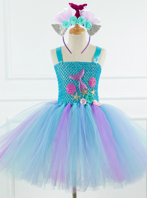 Girls Blue Tulle Tutu Princess Cospaly Dress