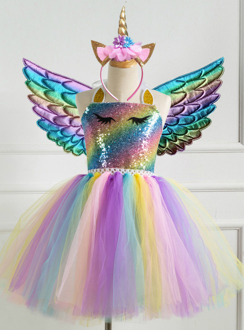 Colorful Sequined Girls' Tutu Dress