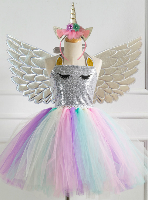Silver Sequined Girls' Party Tutu Dress