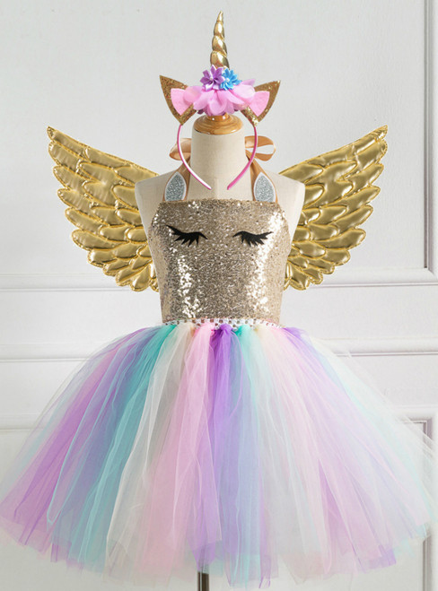 Gold Sequined Girls' Party Tutu Dress