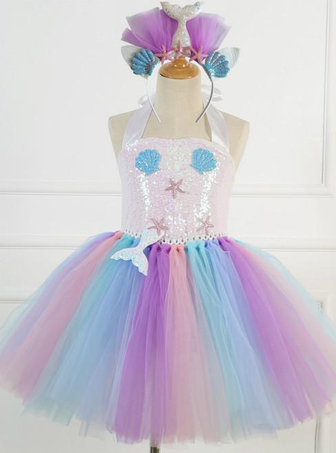 Girls Tulle Sequins Shell Tutu Birthday Dress