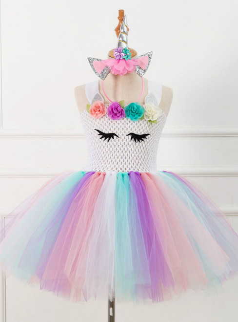 Girls White Unicorn Tulle Tutu Costume Dress