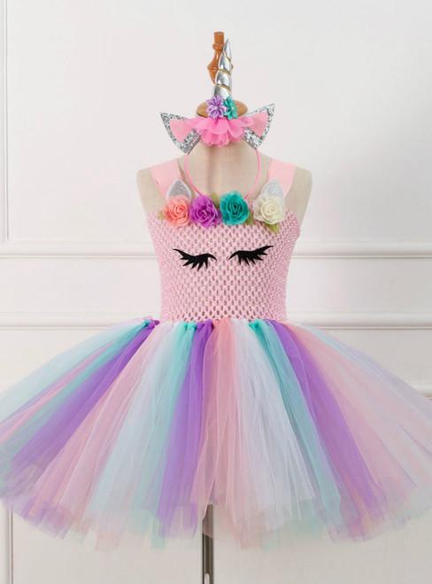 Girls Pink Unicorn Tulle Tutu Costume Dress
