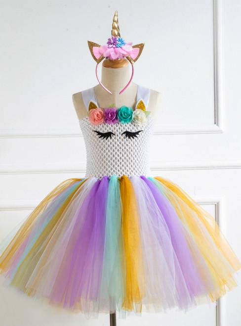 Girls Colorful Tulle Tutu Birthday Dress