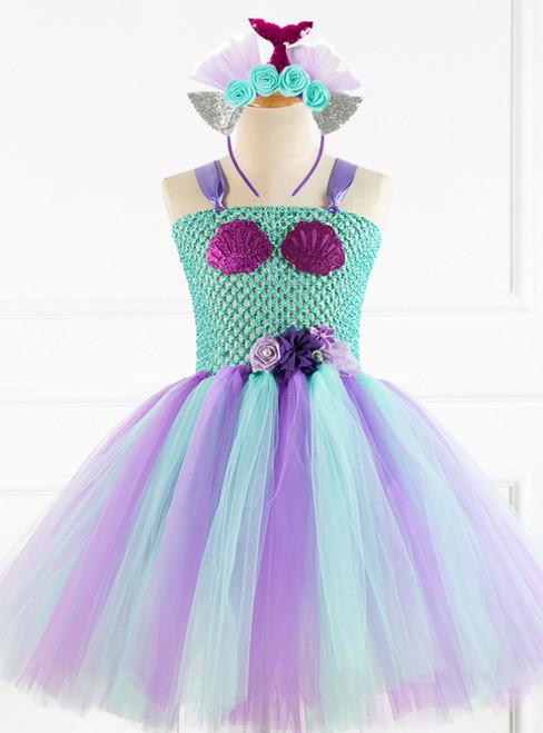 Girls Seashell Flowers Party Tulle Tutu Dress