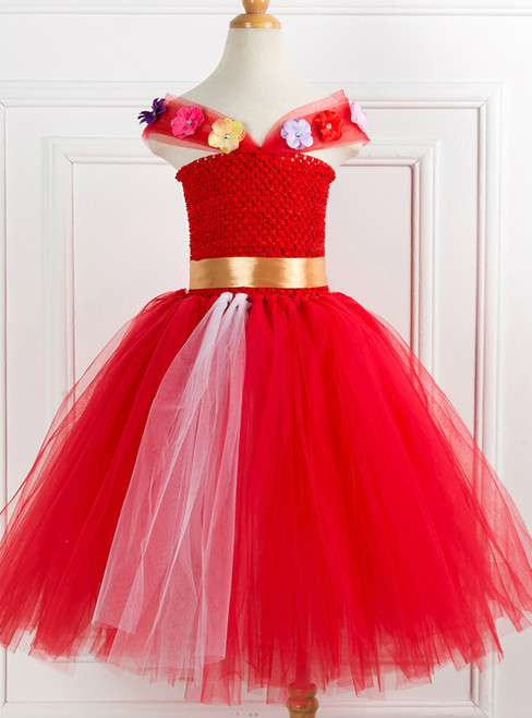 Girls Red Flower Tulle Tutu Dress
