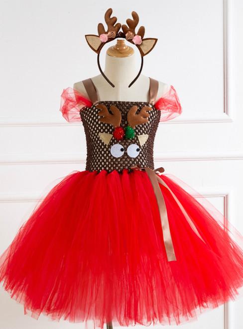 Children's Christmas Elk Cartoon Tulle Tutu Dress