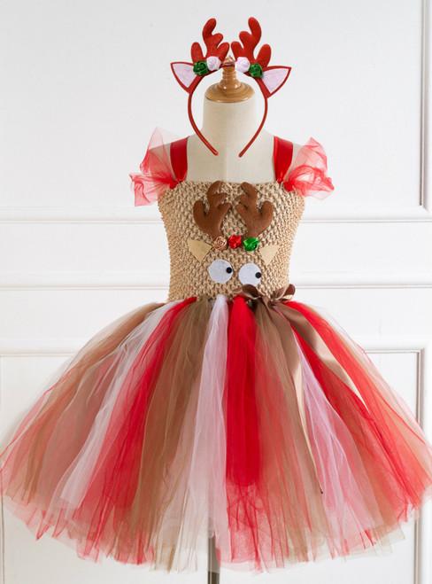 Girls Christmas Elk Cartoon Tulle Tutu Dress