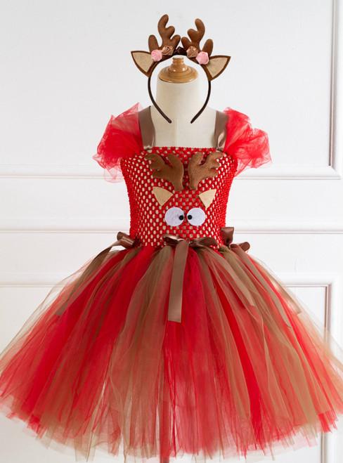 Girls Christmas Elk Cartoon Party Tulle Tutu Dress