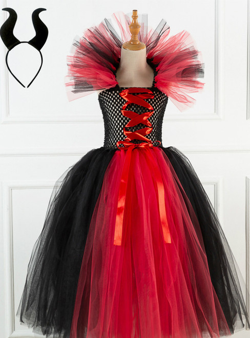 Halloween Witch Red Black Tulle Tutu Dress
