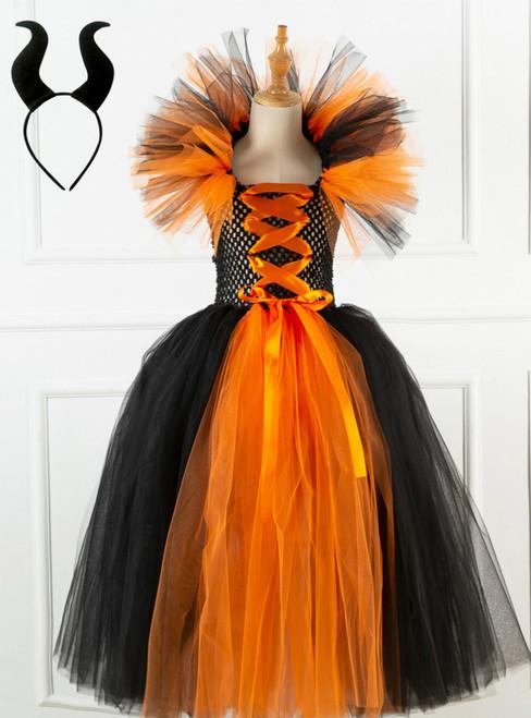 Halloween Witch Orange Black Tulle Tutu Dress