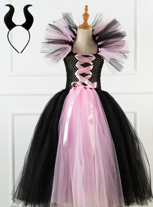 Halloween Witch Pink Black Tulle Tutu Dress