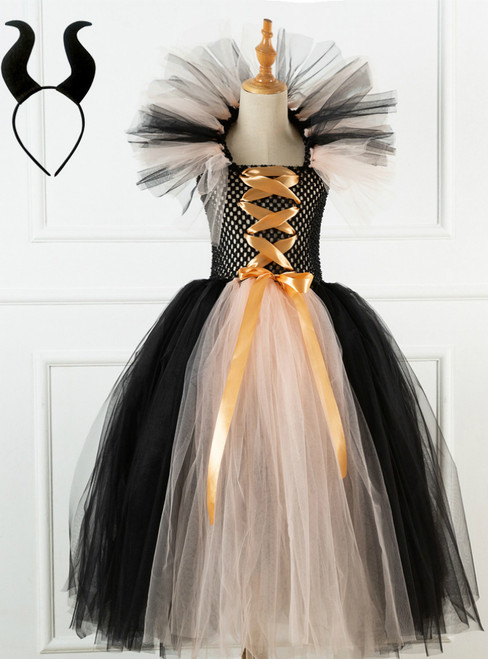 Halloween Witch Champagne Black Tulle Tutu Dress