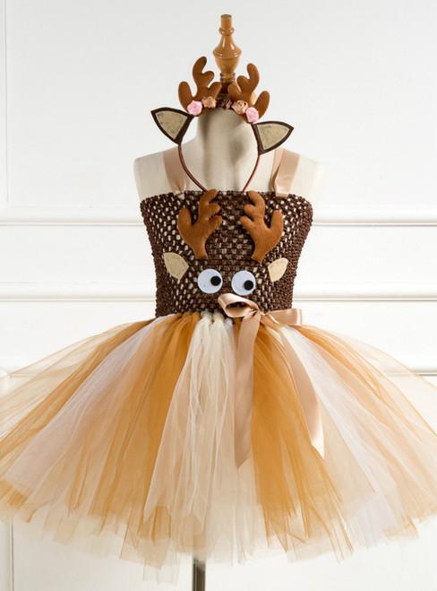 Christmas Elk Girls Tulle Tutu Dress