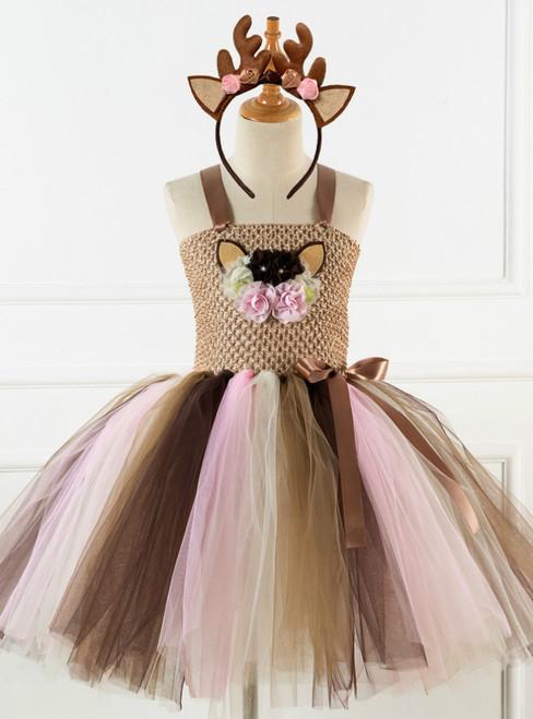 Cartoon Elk Flower Tutu Princess Dress