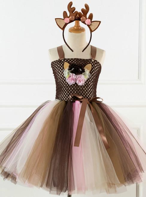 Cartoon Elk Flower Tutu Girls Princess Dress
