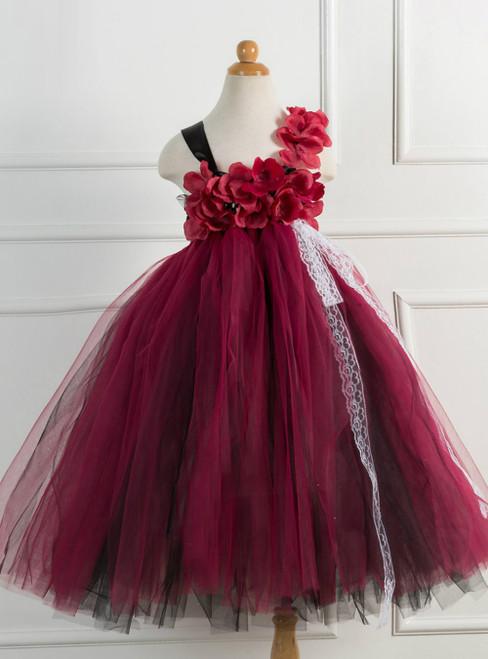 Handmade Burgundy Tulle Tutu Girls Dress