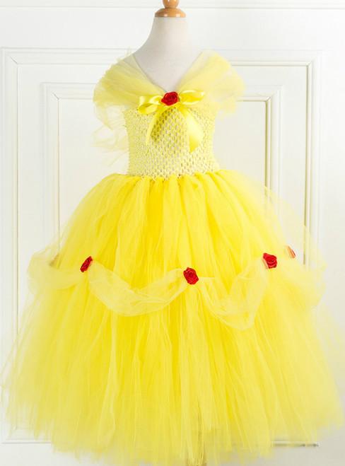 Girls Yellow Tulle Custume Party Tulle Tutu Dress