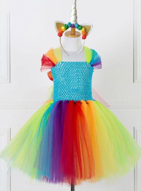 Girls One-horned Colorful Horse Mesh Dress