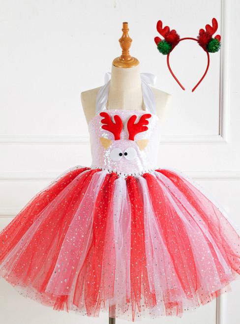 Christmas Elk Handmade Mesh Tutu Dress