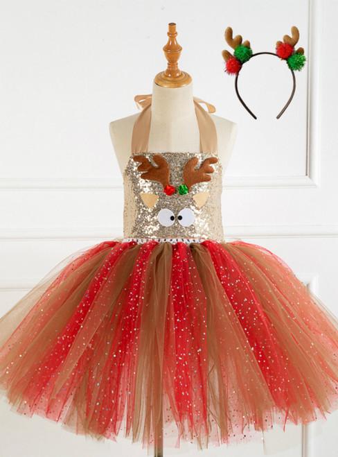 Christmas Elk Handmade Mesh Tutu Party Dress