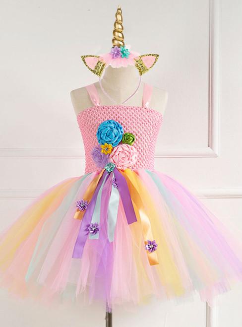 Girls Pink Flower Tulle Tutu Dress