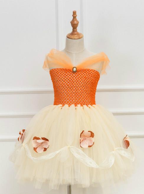 Girls Orange Tulle Tutu Dress