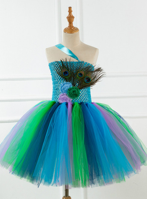 Peacock Feather Mesh Girls Tutu Dress