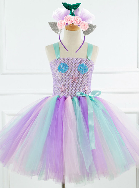 Purple Tulle Tutu Shell Party Drees