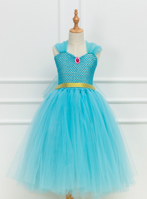Blue Tulle Tutu Girl Paty Dress