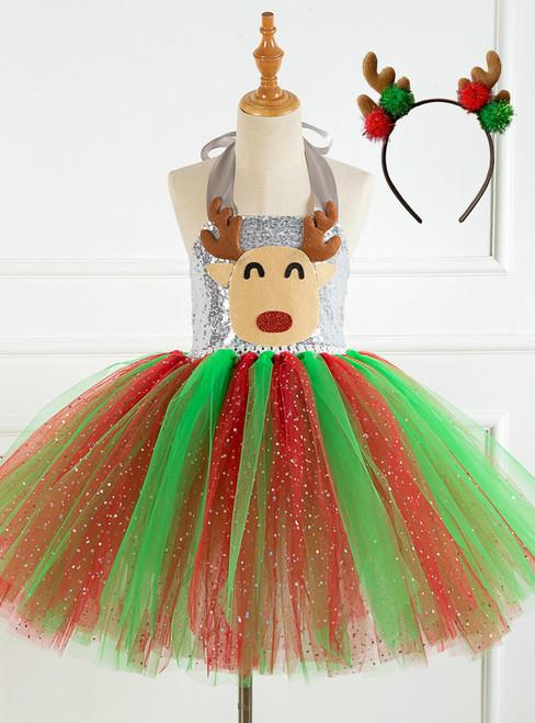 Christmas Tulle Sequins Tutu Dress