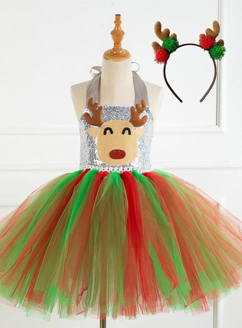 Christmas Tulle Sequins Tutu Girls Dress