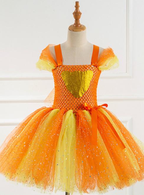 Orange Tulle Sequins Kids Dress
