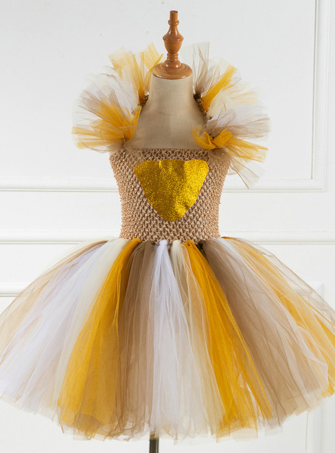 Girls Halloween Party Coffee Tulle Tutu Dress