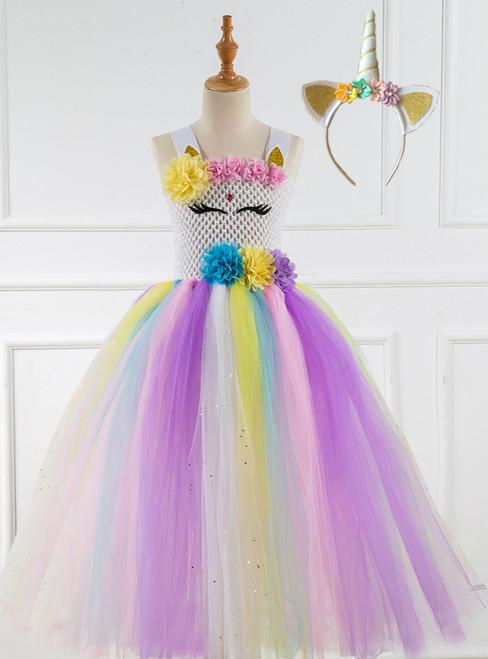 Girls Cartoon Fox Tulle Tutu Dress