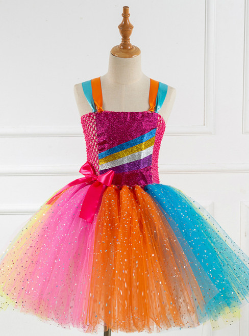Striped Sequins Tulle Tutu Dress