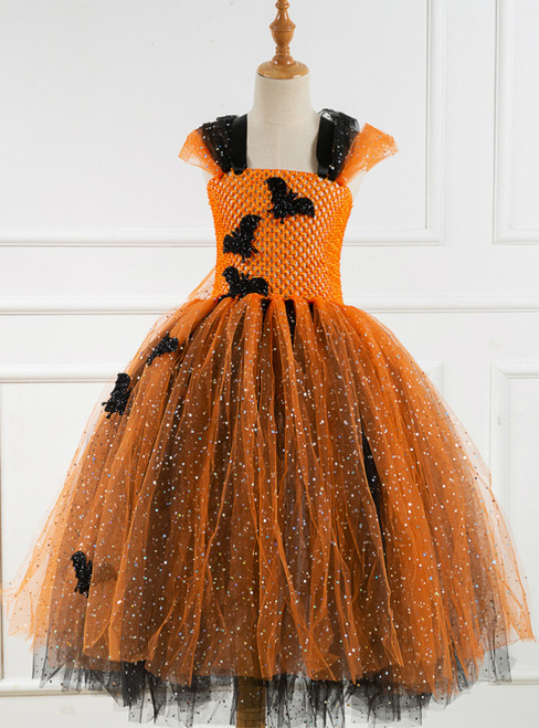 Halloween Sequins Cartoon Black Bat Tutu Dress