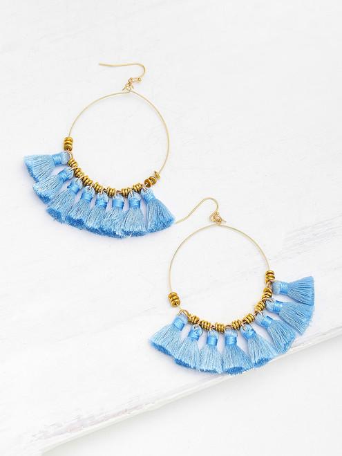 Ring Detail Mini Tassel Drop Earrings